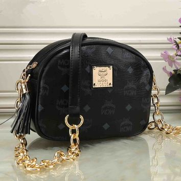 """MCM"" Women Mini Fashion Logo Letter Print Tassel Zip Metal Chain Single Shoulder Messenger Bag"
