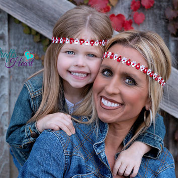 Mommy and Me Headbands - Boho Headbands - Bohemian Headband - Womens Headband - Hippie Headband - Matching Headbands - Red and White - Halo