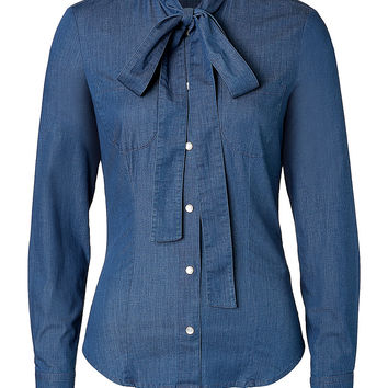 RED Valentino - Stretch Denim Tie Neck Shirt