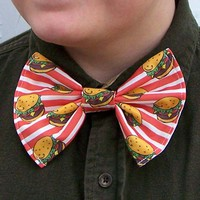 Cheeseburger Bow Tie Red Stripe bowtie