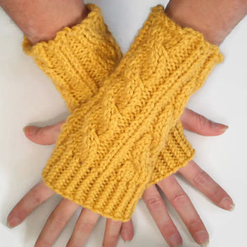 Mustard Fingerless Gloves Yellow Wrist Warmers Cable Handknit