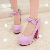 Sweet Bowknot 7CM High-Heeled Buckles Shoes