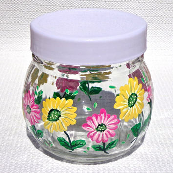 Hand Painted Sugar Bowl With Pink And Yellow Flowers, Mothers Day Gift, Kitchen Decor, Housewarming Gift, Gifts For Her