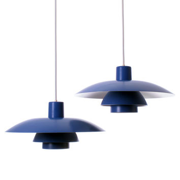 PH 4/3 PAIR pendant by Poul Henningsen - 1966 - Louis Poulsen. Top tier Danish iconic vintage lighting design. Classic blue hanging lamp.