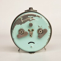 Antique Alarm Clock by Insa, 50's Yugoslavia / Green and Gold / Working Condition