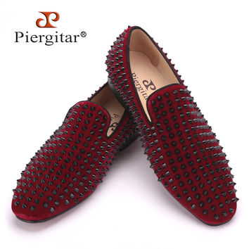 Handmade men velvet shoes with black rivets Fashion party and wedding men loafers Italian style smoking slipper men's falts