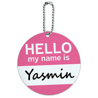 Yasmin Hello My Name Is Round ID Card Luggage Tag