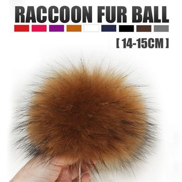 Genuine Real Big Raccoon Fur Most Fur Pom Pom For Winter Women Accessories Beanie Hat Cap Top Fur Ball For Hat Grey Colors