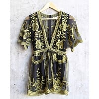 honey punch - as you wish contrasting embroidered lace romper (women) - black/gold