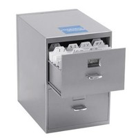 Miniature File Cabinet for Business Cards with Built-in Digital Clock, PI-9617
