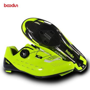 BOODUN Ultralight Carbon Fiber Cycling Shoes Breathable Road Bike Self-Locking Bicycle Shoes Athletic Triathlon Racing Sneakers