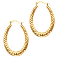 10K Yellow Gold Ridged Oval Shaped Hoop Earrings