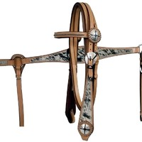 Saddles Tack Horse Supplies - ChickSaddlery.com Showman Cowhide Inlay Headstall & Breast Collar Set with Antique Conchos