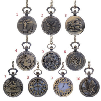 1PC Antique Bronze Pocket Watch Necklace Chain Pendant Round 80cm Long = 1946169220