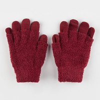2 Pack Fuzzy Tech Gloves Burgundy One Size For Women 26413532001