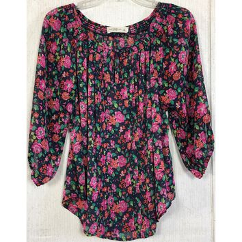 Abercrombie & Fitch Floral Peasant Blouse Navy Blue Sheer Chiffon Pink Pleat L