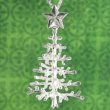 Christmas Tree Necklace With Snowy Branches