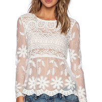 Toby Heart Ginger x Love Indie Lush Lace Top in Cream