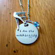 "Hunger Games Inspired Necklace. Katniss ""I am the mockingjay"". Hand stamped, silver colored, charm pendant, Swarovski crystal, jewelry."