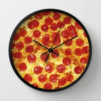 Pepperoni Pizza Wall Clock by RexLambo
