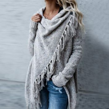 Loose Knitted Irregular Long Sleeve Sweater