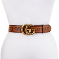 Gucci Gucci Loved Wide Leather Belt w/ Double GG Buckle
