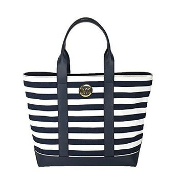 Michael Kors Fulton Canvas Medium Tote Hand Bag Navy/OptWht Stripe