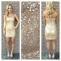 Rose Gold Strapless Sequin 007 Dress