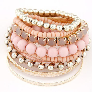9PCS Pearls and Beads Bracelets