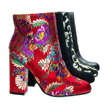 Namaste05 Red Fabric by Bamboo, Floral Embroidery Block Heel Ankle Bootie w Faux Fur Lining