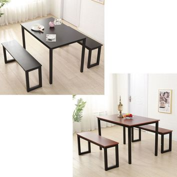 3 Piece: Modern Wooden Dining Table and Bench Set