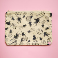 Crazy Pineapples Large Clutch - Black