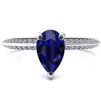 Nancy Pear Blue Sapphire 3 Prong 1/2 Eternity Diamond Knife Shank Accent Engagement Ring