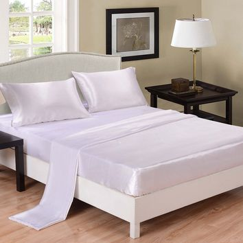 Satin Silky Soft and Luxury Bedding Sheet & Pillowcase Sets, White, Three Size