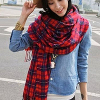 Shawl Red & Black Plaid Shawl, All Season Light Wrap for Cool Cabin Nights