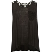 Full Tilt Crochet Back Girls Pocket Tank Black  In Sizes