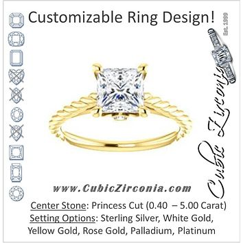 Cubic Zirconia Engagement Ring- The Lolita (Customizable Princess Cut Style with Braided Metal Band and Round Bezel Peekaboo Accents)