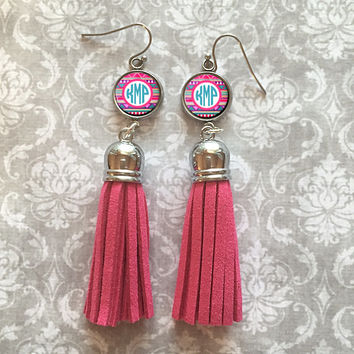 Pink Monogram Tassel Dangle Earrings, Personalized Earrings - Style 518
