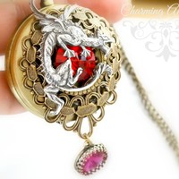 Red Vitrail Pocket Watch Pendant Necklace,Antiqued brass Pocket Watch