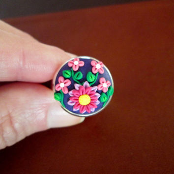 purple polymer clay ring,purple cameo ring,purple floral ring,pink floral ring,colorful ring,spring ring,wearable art jewelry,romantic gifts