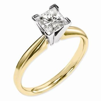 14 kt Two-Tone Gold 3.10 ct Princess Cut Solitaire Engagement Ring - Celestial Premier Moissanite