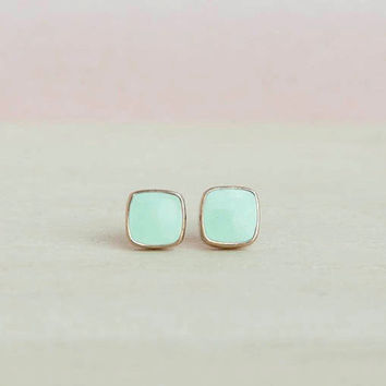 Mini Square Stud Earrings, Turquoise Square Studs, Turquoise Square Posts, Pale Turquoise Color