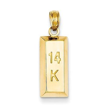 14K Yellow Gold 14K Gold Bar Necklace Charm