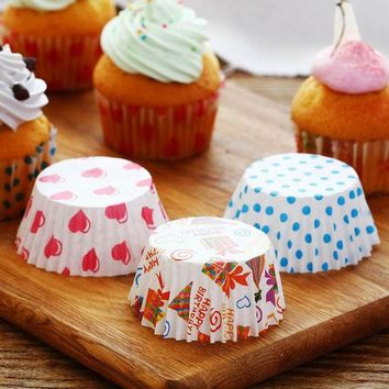 DCCKL72 100Pcs Colorful Rainbow Paper Cake Cupcake Liner Baking Muffin Box Cup Case Party Tray Cake Mold Decorating Tools