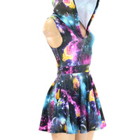 Pocket Hoodie Skater Dress in UV Glow Galaxy Print