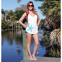 Shore Side Single Starfish Tank Top - White