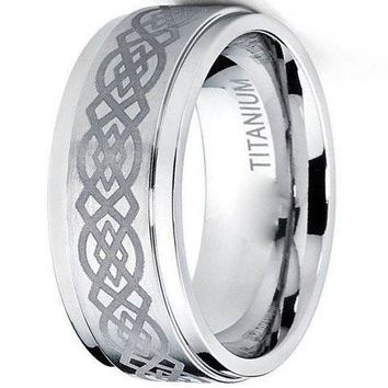 CERTIFIED 9mm Titanium Wedding Band Ring with Laser Etched Celtic Design, Comfort Fit