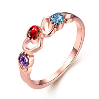 Multi Gem Heart 18k Rose Gold Plated Ring