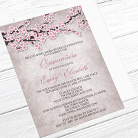 Quinceañera Invitations - Rustic Pink Cherry Blossom - Floral 15th Birthday Celebration - Printed Cherry Blossom Invitations