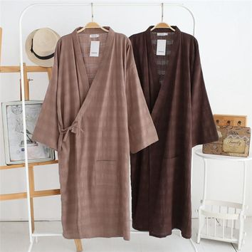 Men's Sleep Lounge kimono Robe Bathrobe cotton Linen vintage Robes